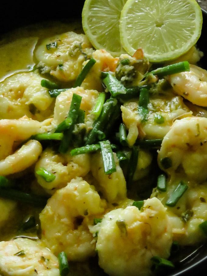 garlic buter shrimp served in a bowl.
