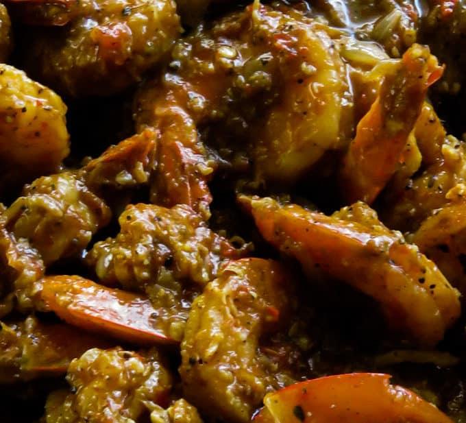 prawn vindaloo cooked in a pan