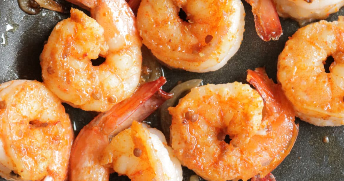 easy sauteed shrimp cooked in a pan