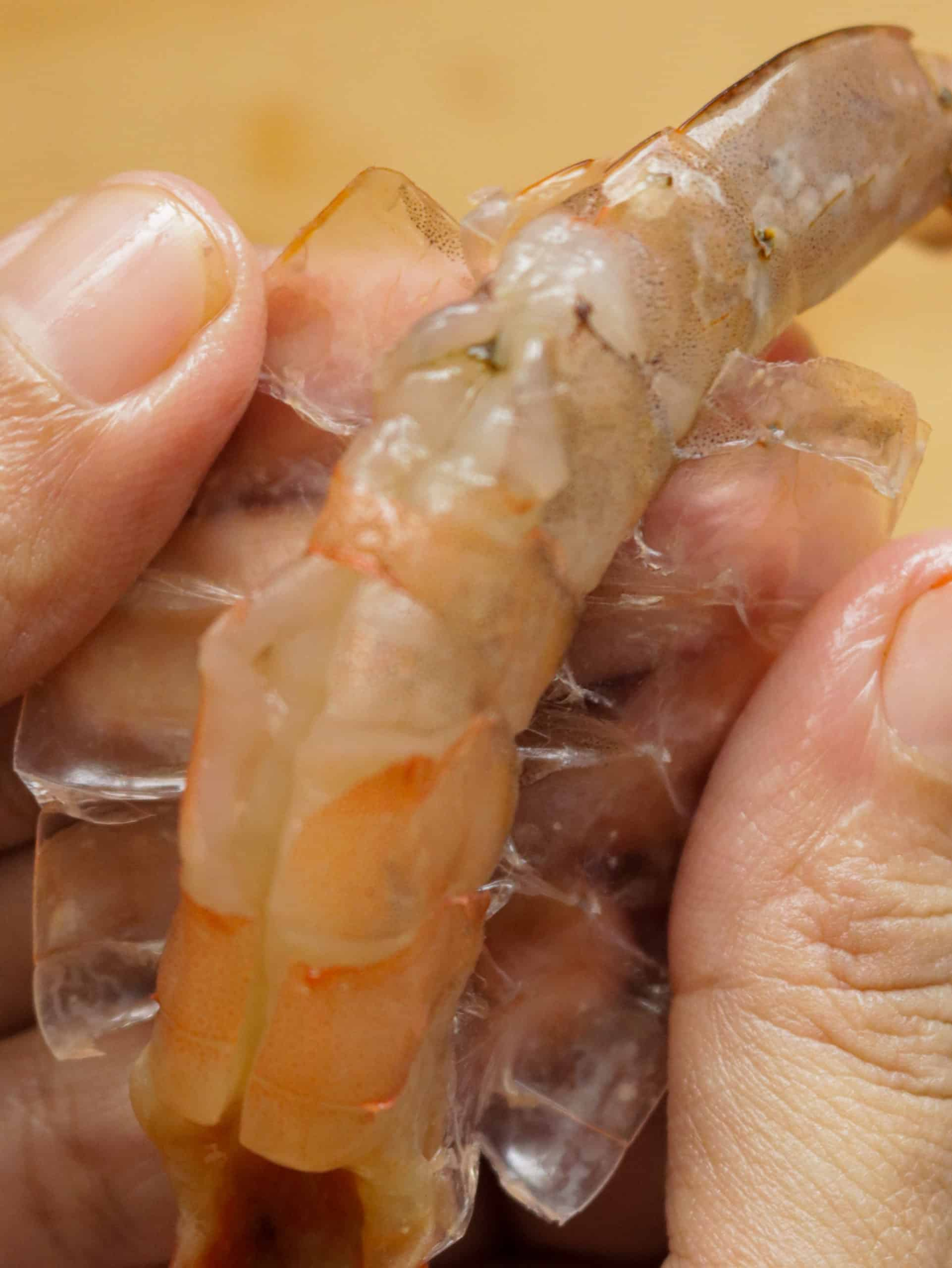 removing the shell of the shrimp
