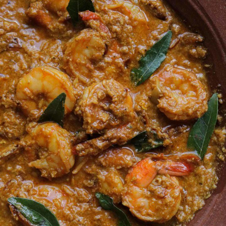 Shrimp korma red curry.