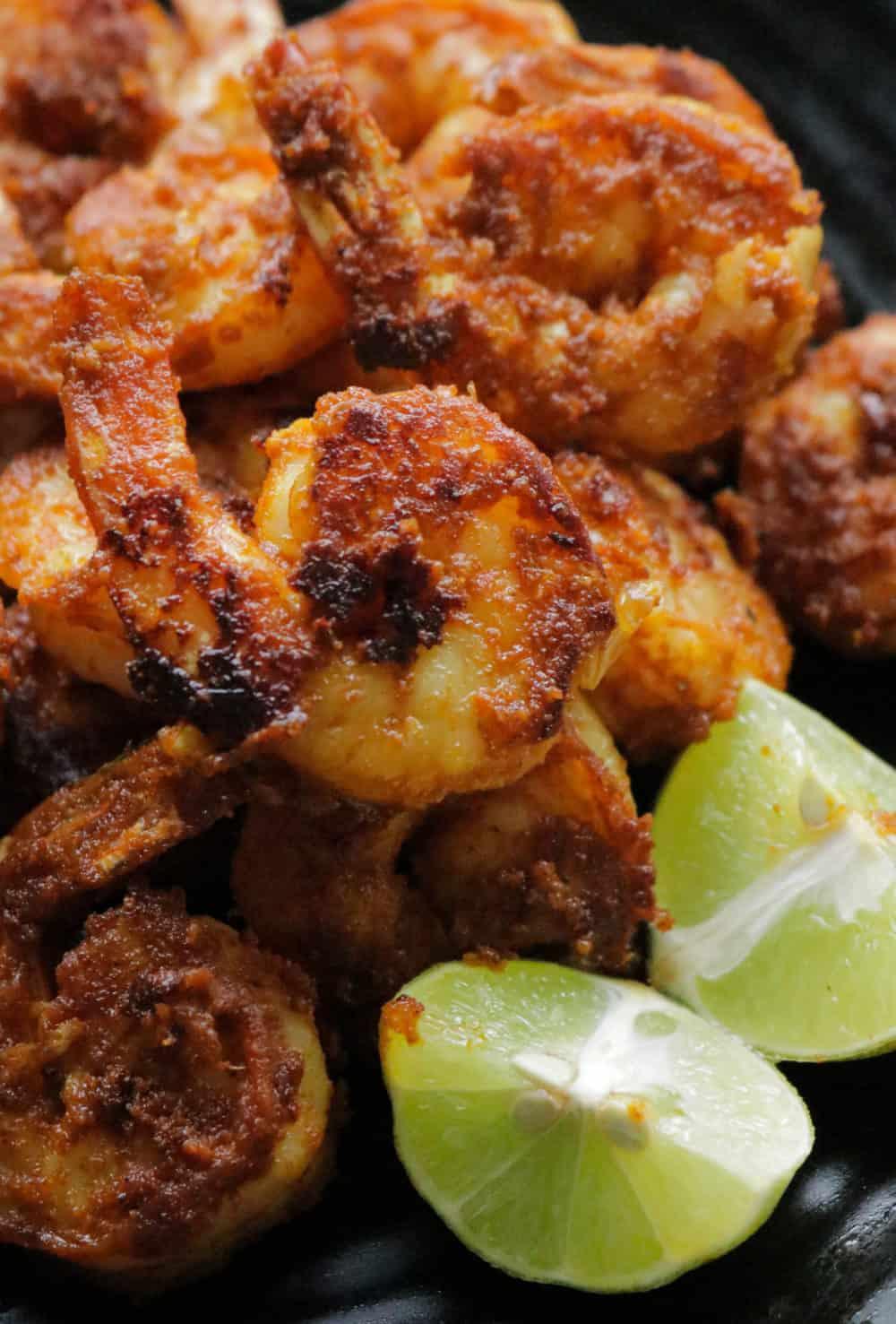 tandoori shrimp served in a platter.