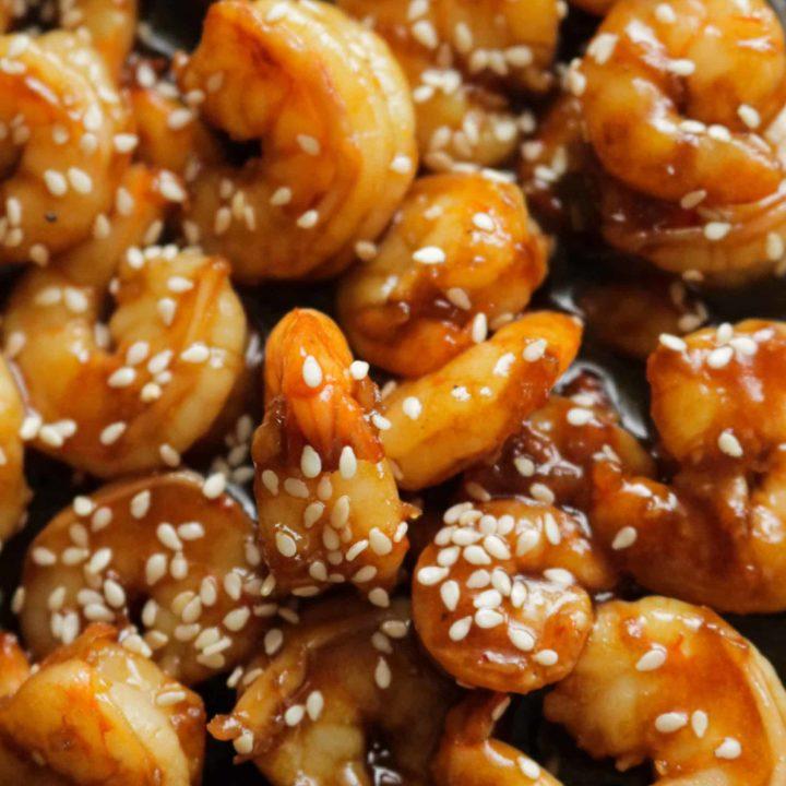 Sesame garlic shrimp stir fry.