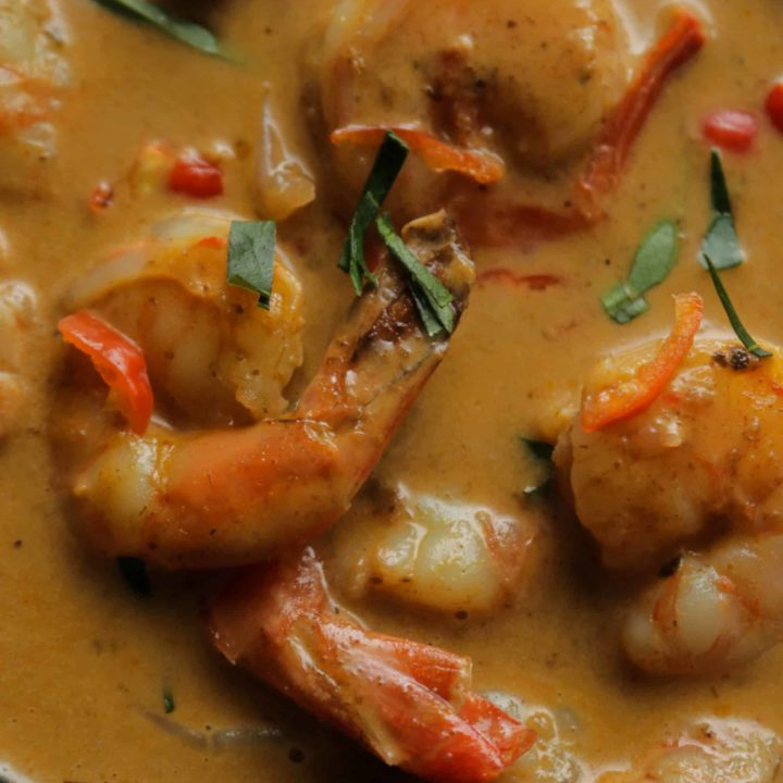easy thai coconut shrimp curry served in a bowl.